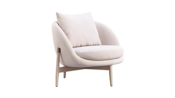 Kruhová animace světle béžové kožené židle s dřevěnými nohami na bílém pozadí. Moderní dřevěné křeslo z poloviny století. Otočný 3D vykreslení