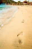 Beautiful footprints on the beach in nature by the sea