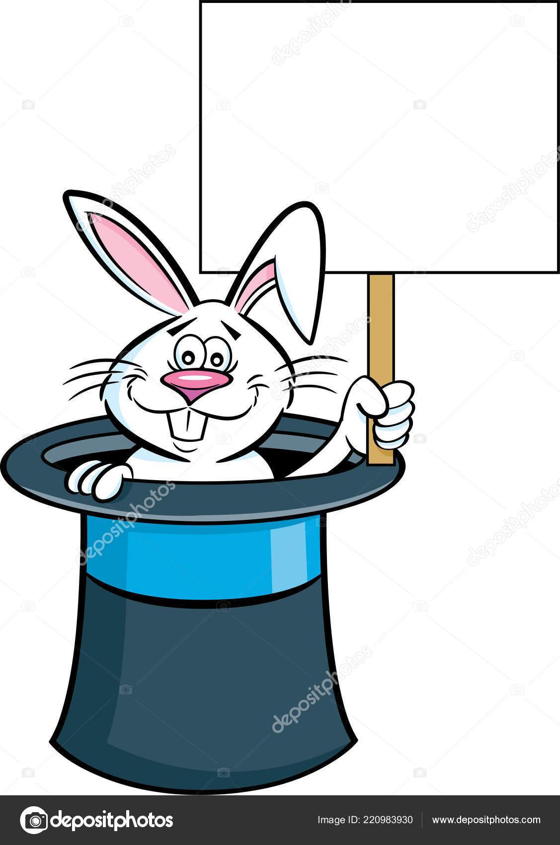 Illustrazione Del Fumetto Coniglio Cappello Cilindro Che Tiene Segno —  Vettoriale Stock d52b370f40a9