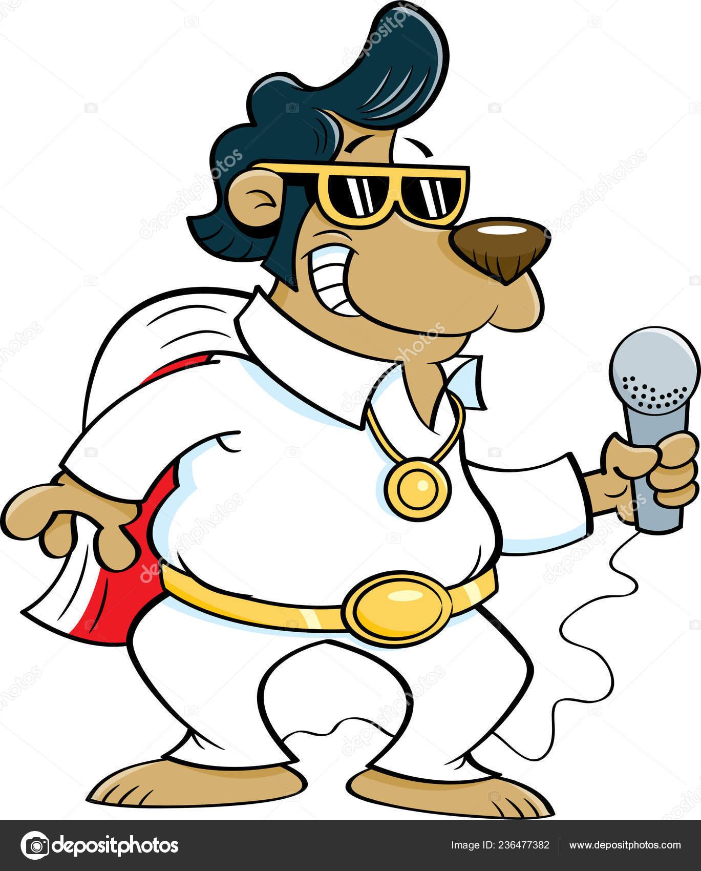 Ilustración Dibujos Animados Oso Disfrazado Cantante Rock