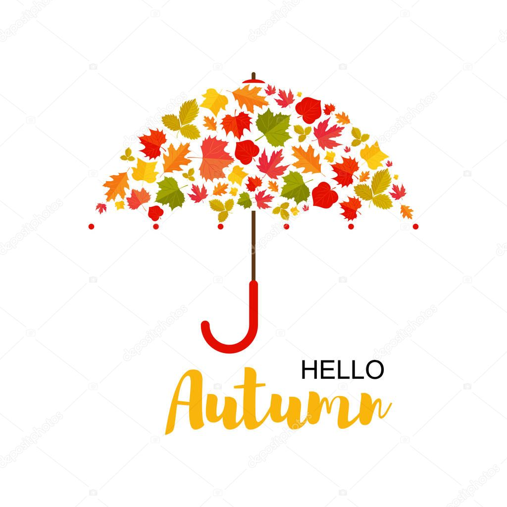 Vector Illustration. Autumn background.Umbrella of leafs. Hello autumn poster with umbrella and autumn leafs. Backgroun for desing