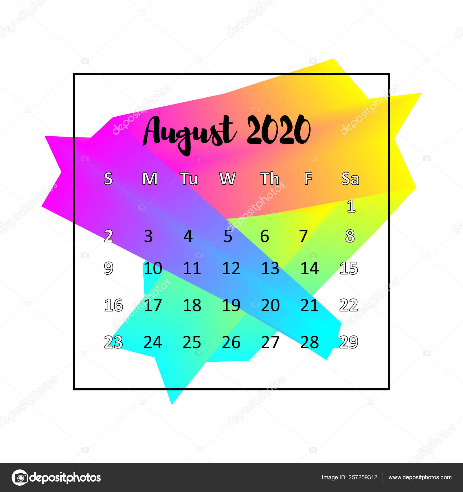 Agosto 2020 Calendario.2020 Calendar Design Abstract Concept August 2020 Business