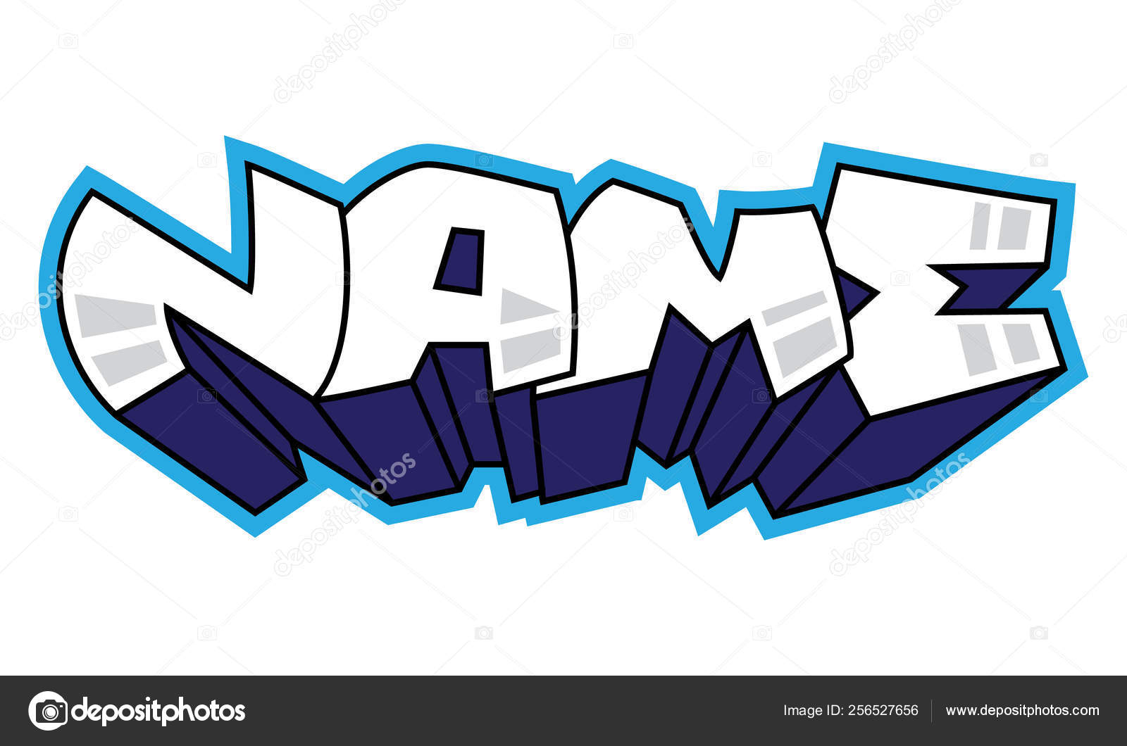 Graffiti. Name word. Street art spray paint graffiti sticker