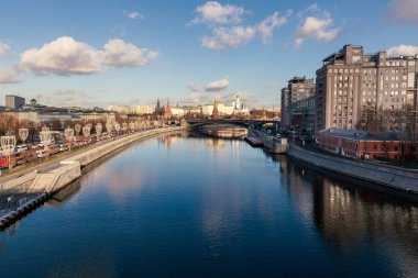 Moskva river and Kremlin view from the bridge