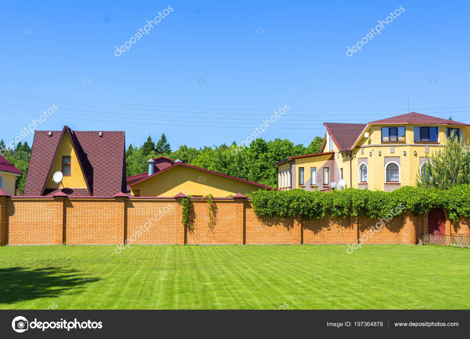 Beautiful Country House Garage Brick Fence Stock Photo