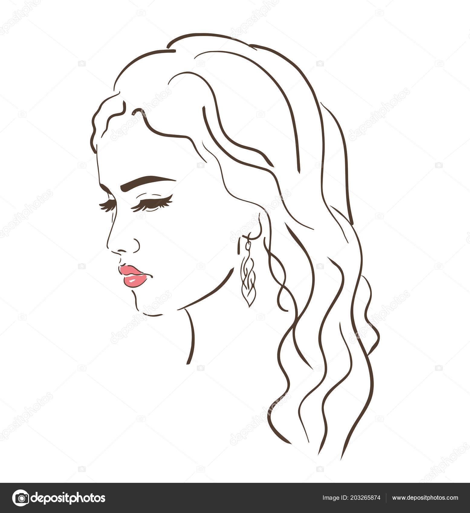 Junge Frau Gesicht Mode Skizze Schwarzen Und Weißen Linearen