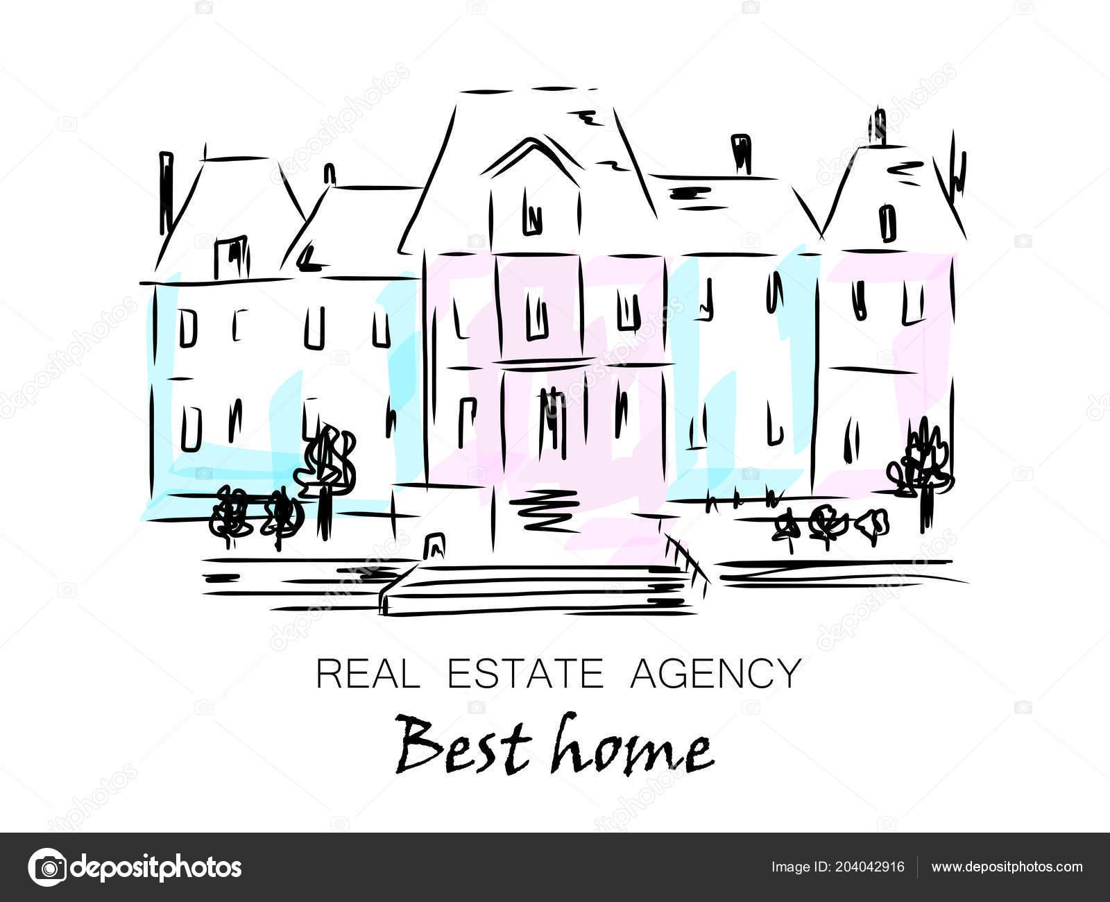 Croquis de la maison de ville indépendante maisons individuelles avec des arbres dessiné de main illustration de vecteur de dessin animé illustration de