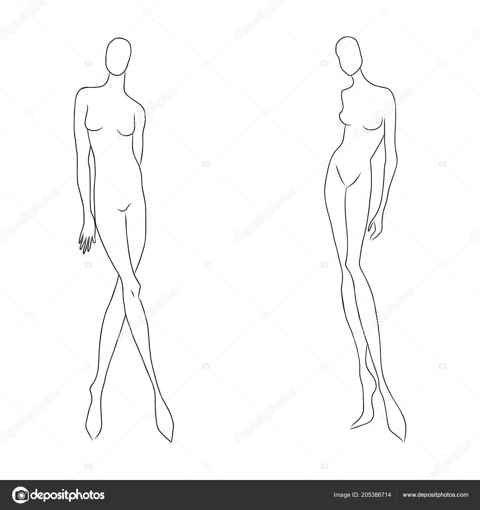 Body Sketch Outline Womens Figure Sketch Different Poses Template For Drawing For Designers Of Clothes Nd Constructors Vector Outline Girl Model Template For Fashion Sketching Fashion Illustration Stock Vector C Medunika 205386714