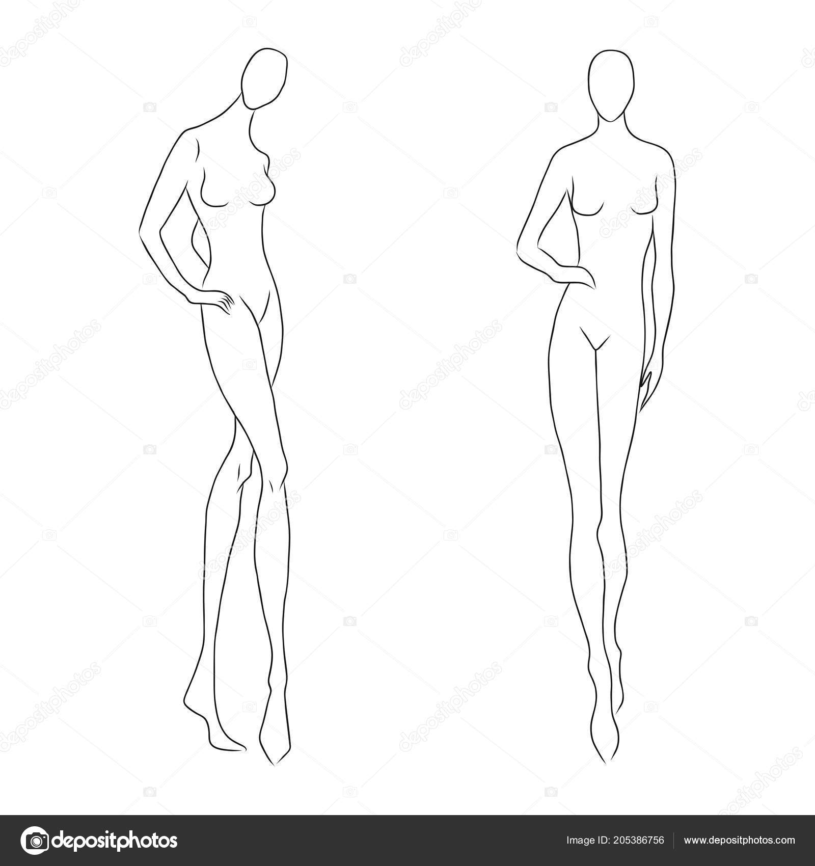Drawing Models For Fashion Design Womens Figure Sketch Different Poses Template For Drawing For Designers Of Clothes Nd Constructors Vector Outline Girl Model Template For Fashion Sketching Fashion Illustration Stock