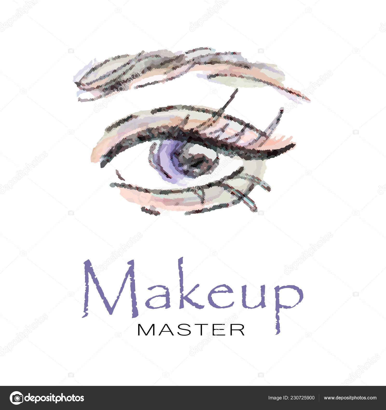 8d30f26bae6 Logo makeup master. EPS 10– stock illustration. Lady Stylish Opened Eye  Brows Full Lashes Beautiful Sexy Women — Stock Vector