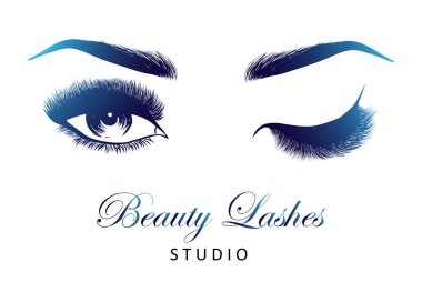 Lady stylish opened eye and brows with full lashes, beautiful sexy women eyes makeup. Beauty lashes studio logo. EPS 10