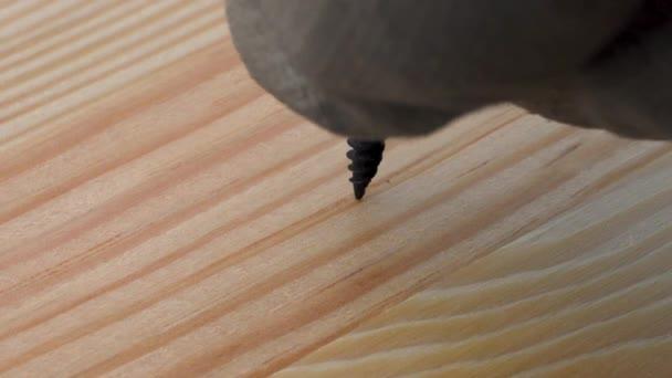 Detailní záběr na elektrický pohon šroubovák šroubování pomalu černá Samořezný šroub šroub v celý rám dřevěné prkno. Kopírovat prostor.