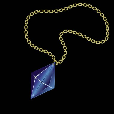 Gold chain with a beautiful gemstone isolated against a black background.
