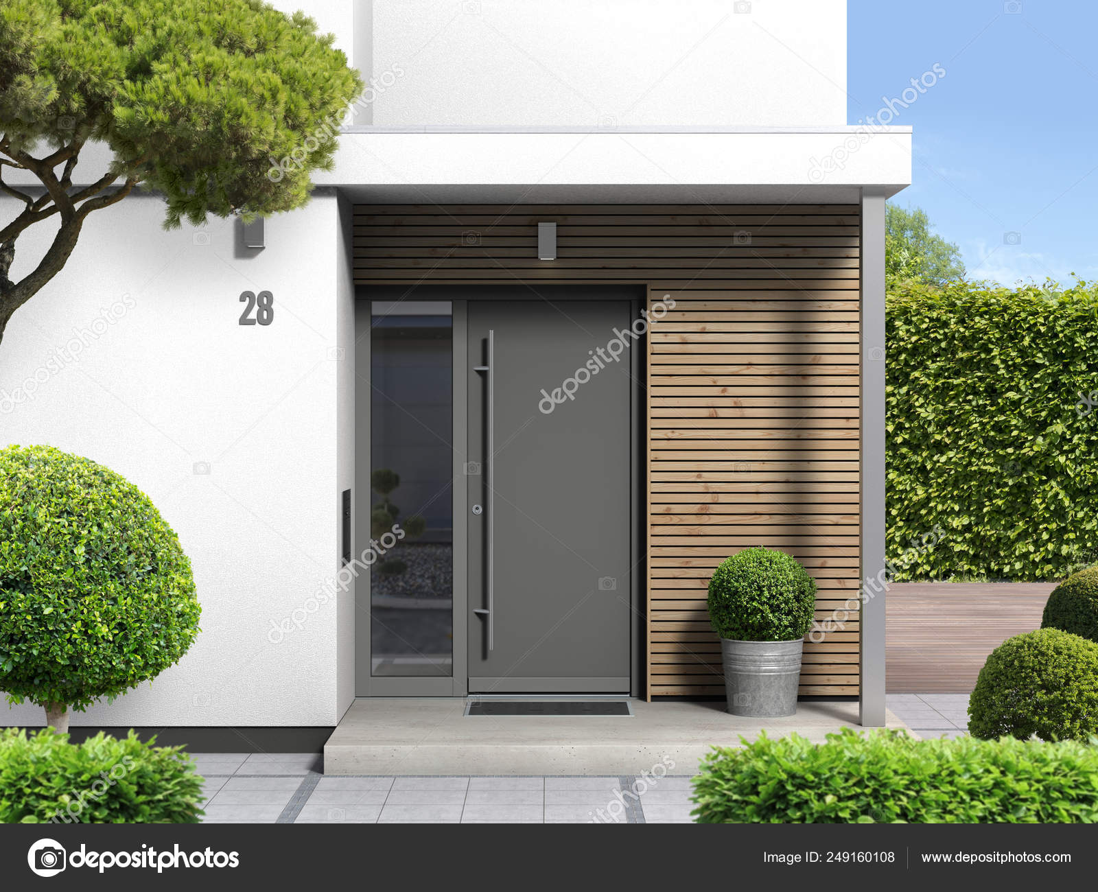 Images Modern Bungalow Modern Bungalow Home Entrnne Front Dir Rendering Stock Photo C Numismarty 249160108