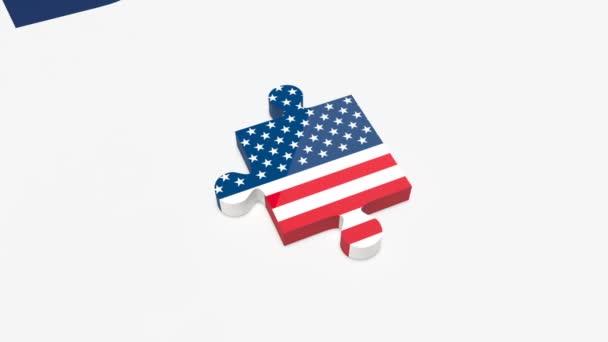 Dva kousky skládačky spojena s vlajkami USA a Severní Koreje. Spojené státy a Severní Korea koncept vztahů