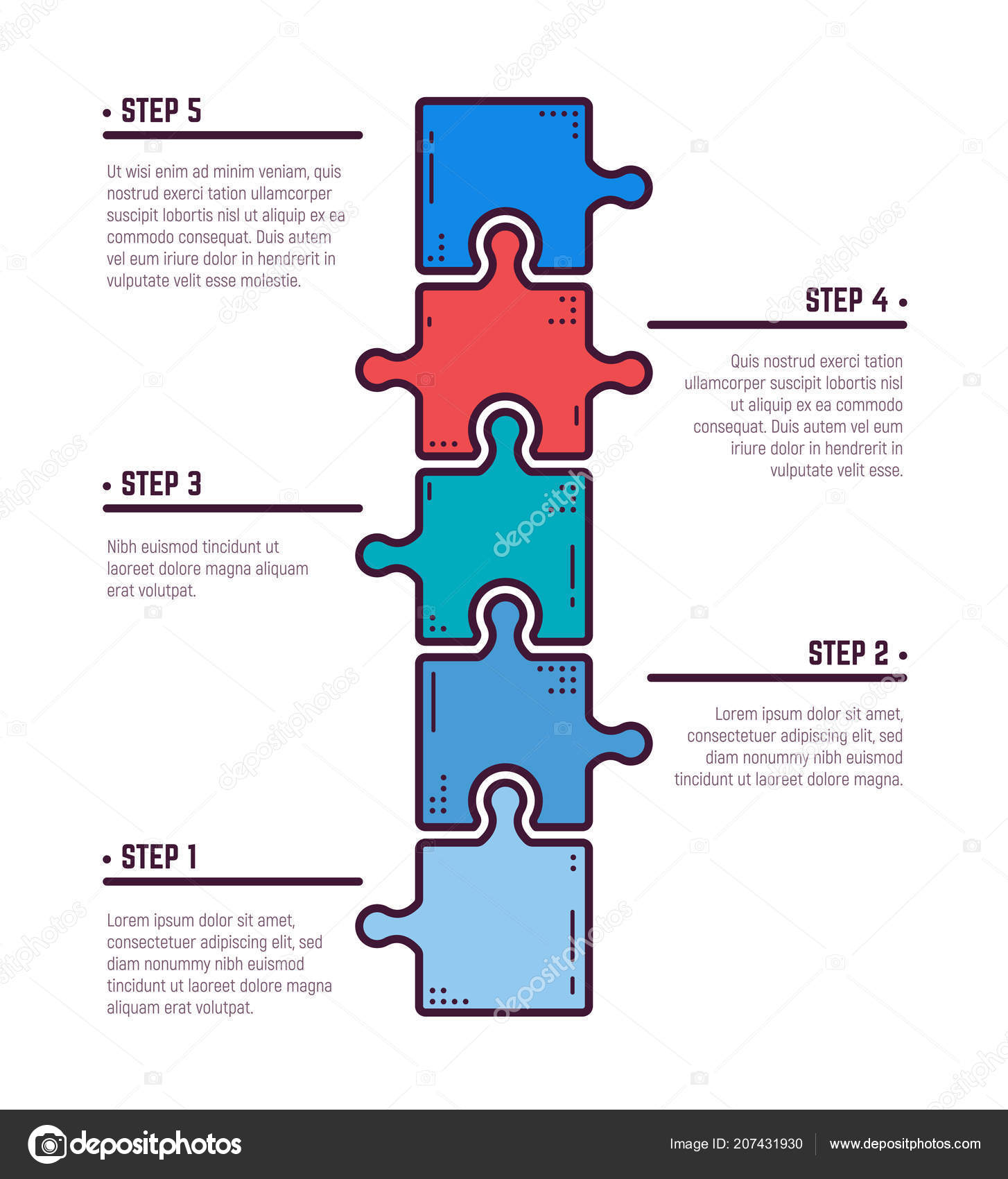 Puzzle infographic bussines concept template business project puzzle infographic bussines concept template business project presentation diagram five stock vector maxwellsz