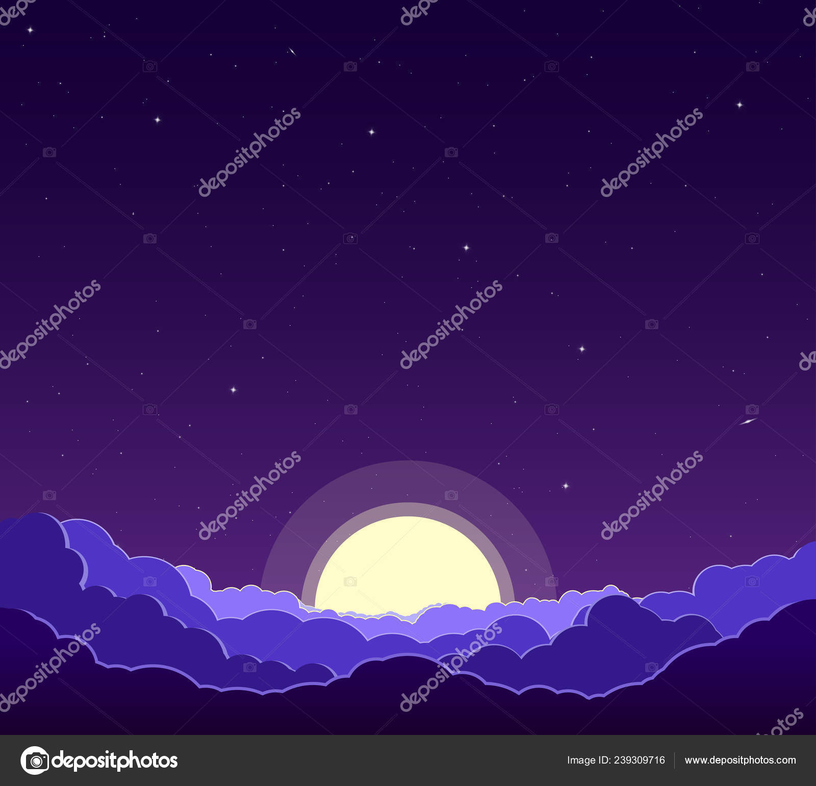 Purple Night Sky Stars Clouds Moon Astrology Religion Astronomy