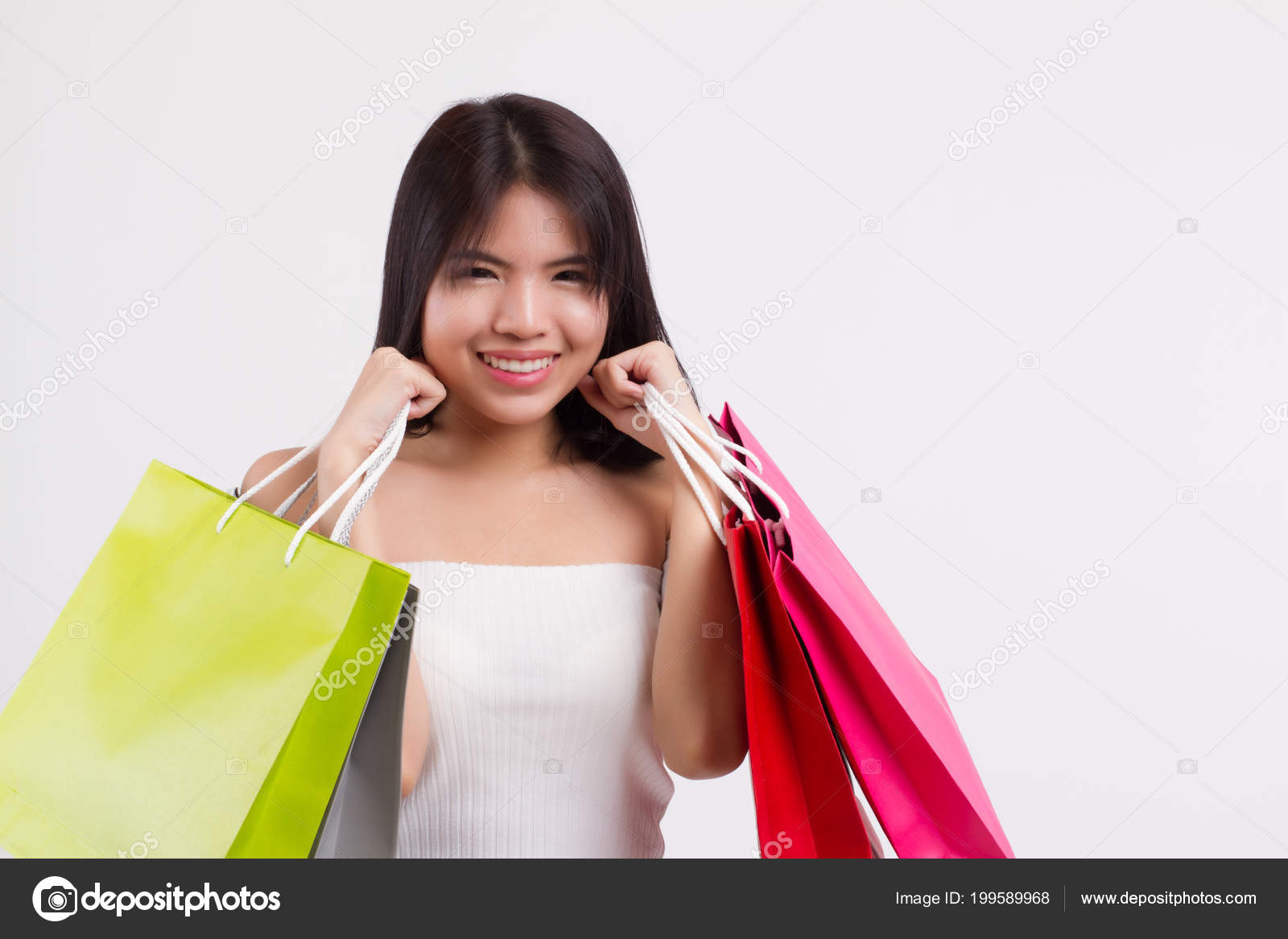 c1ab3dbbdb46a Happy smiling girl shopping, excited woman holding shopping bag isolated,  smiling girl happy woman shopping colorful bag, asian lady happy shopping  concept ...