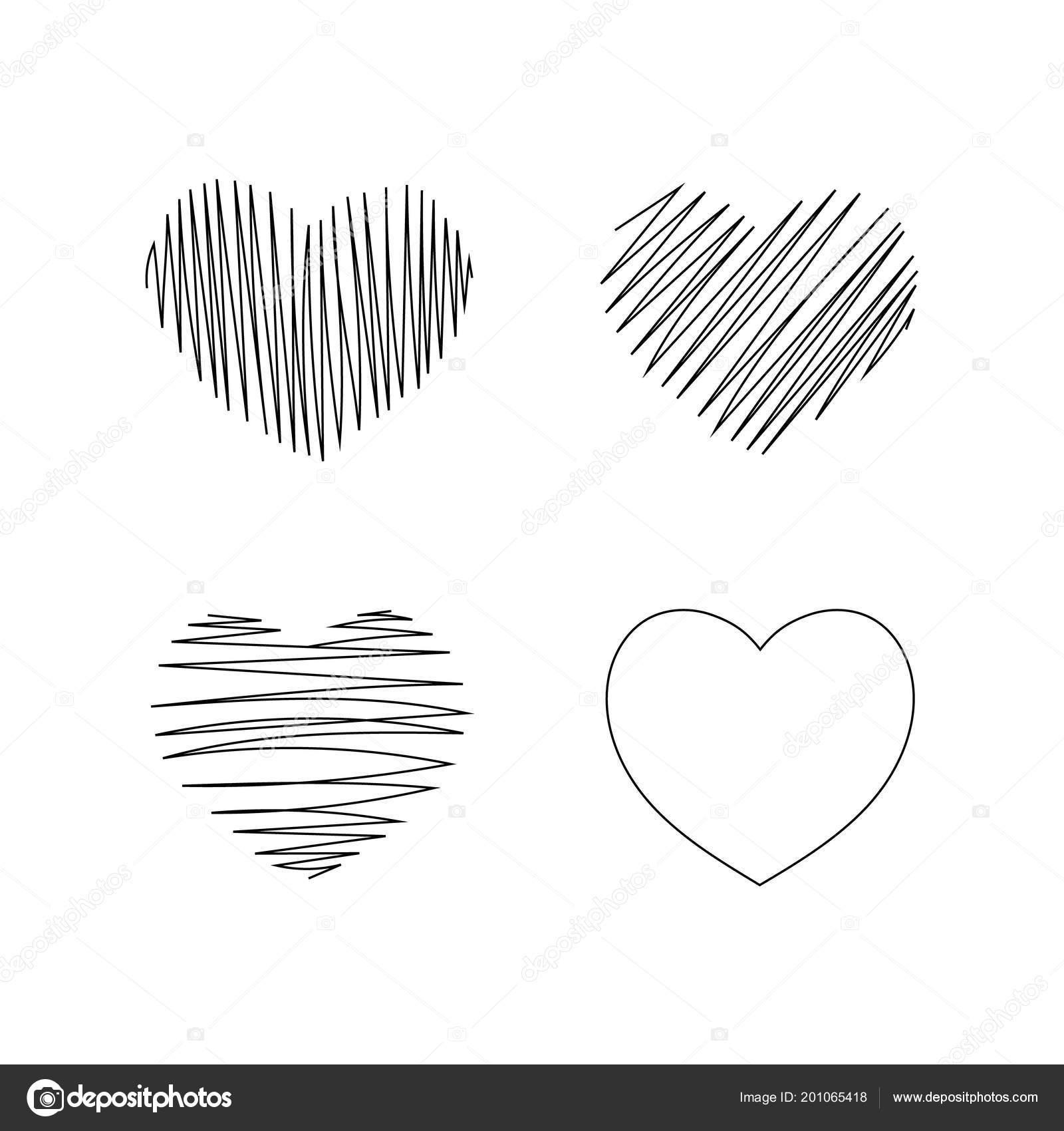 Cuatro Dibujos Corazones Para Febrero Día San Valentín Vector De