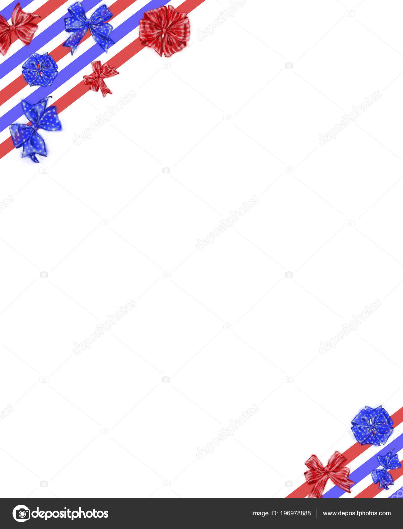 fourth july template tricolor ribbons bows corners independence day