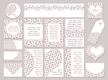 Set of Pink Floral Pattern Templates, Tags, and Labels. Romantic Floral design for Wedding, Valentine Day, and Special Event. Summer Wedding Floral Printable Decorations in Romantic Hand Painted Watercolor.