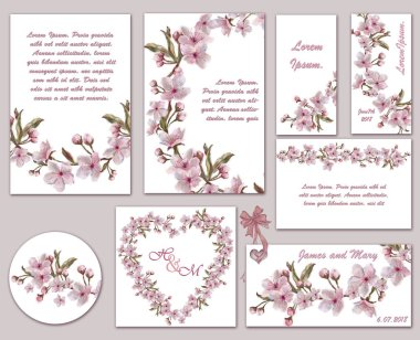 Set of Floral Wreath Templates, Tags, and Labels. Flower Decorated Templates for Wedding, Valentine Day, and Romantic Event. Hand Painted Summer Wedding Set of Printable Decorations.