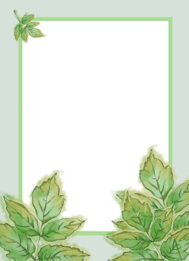 Green Hickory Leaves Template with Framed White Text Copy Space. Template for Summer Announcement, Advertisement and Variable Printable decorated with Fresh Leaves. Watercolor Painted Botanical Template with Wet Paper Texture.