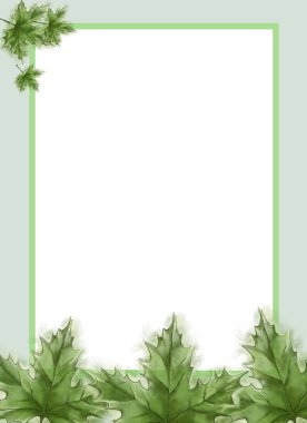 Green Maple Leaves Template with Framed White Text Copy Space. Template for Summer Announcement, Advertisement and Variable Printable decorated with Fresh Leaves. Watercolor Painted Botanical Template with Wet Paper Texture.