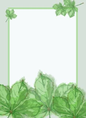 Green Chestnut Leaves Template with Framed White Text Copy Space. Template for Summer Announcement, Advertisement and Variable Printable decorated with Fresh Leaves. Watercolor Painted Botanical Template with Wet Paper Texture.