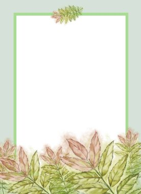 Green and Pink Ash Leaves Template with Framed White Text Copy Space. Template for Summer Announcement, Advertisement and Variable Printable decorated with Fresh Leaves. Watercolor Painted Botanical Template with Wet Paper Texture.