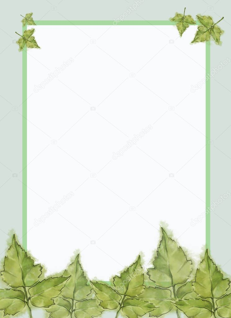 Green Poison Ivy Leaves Template with Framed White Text Copy Space. Template for Summer Announcement, Advertisement and Variable Printable decorated with Fresh Leaves. Watercolor Painted Botanical Template with Wet Paper Texture.