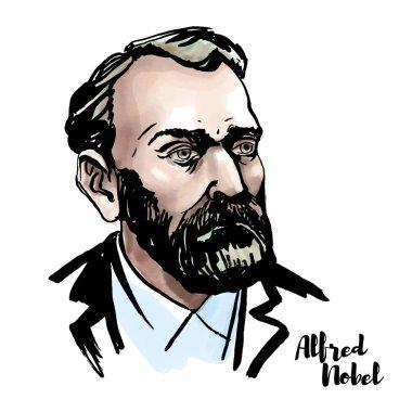 Alfred Nobel suluboya vektör portre mürekkep ile kontür. İsveçli kimyager, mühendis, mucit, işadamı ve hayırsever.