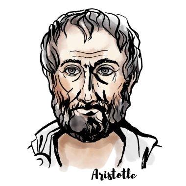 Aristo suluboya vektör portre mürekkep ile kontür. Antik Yunan filozof ve bilim adamı.