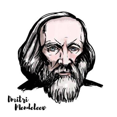 Dmitri Mendeleev suluboya vektör portre mürekkep ile kontür. Rus kimyager ve mucit.