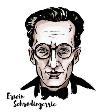 Erwin Schroedinger suluboya vektör dikey, mürekkep kontür