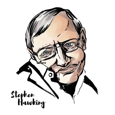 Stephen Hawking watercolor vector portrait with ink contours. English theoretical physicist, cosmologist, and author of several popular books in physics.