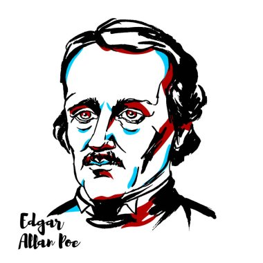 Edgar Allan Poe engraved vector portrait with ink contours. American writer, editor, and literary critic.