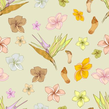 Hawaiian tropical floral seamless pattern with footprints in pale colors. Usefool for background design and textile or wallpapers.