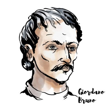 Giordano Bruno suluboya vektör portre mürekkep ile kontür. İtalyan Dominik keşiş, filozof, matematikçi, şair ve kozmolojik teorisyeni.