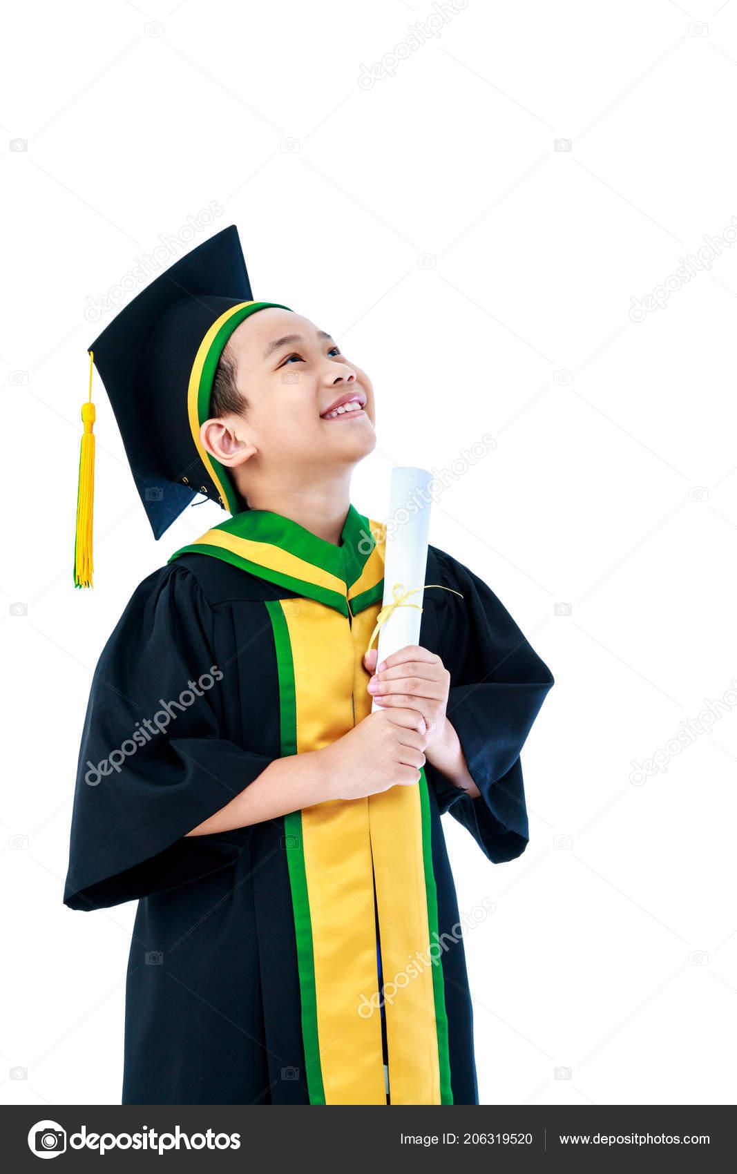 Graduación Kinder Niño Asiático Vestido Graduación