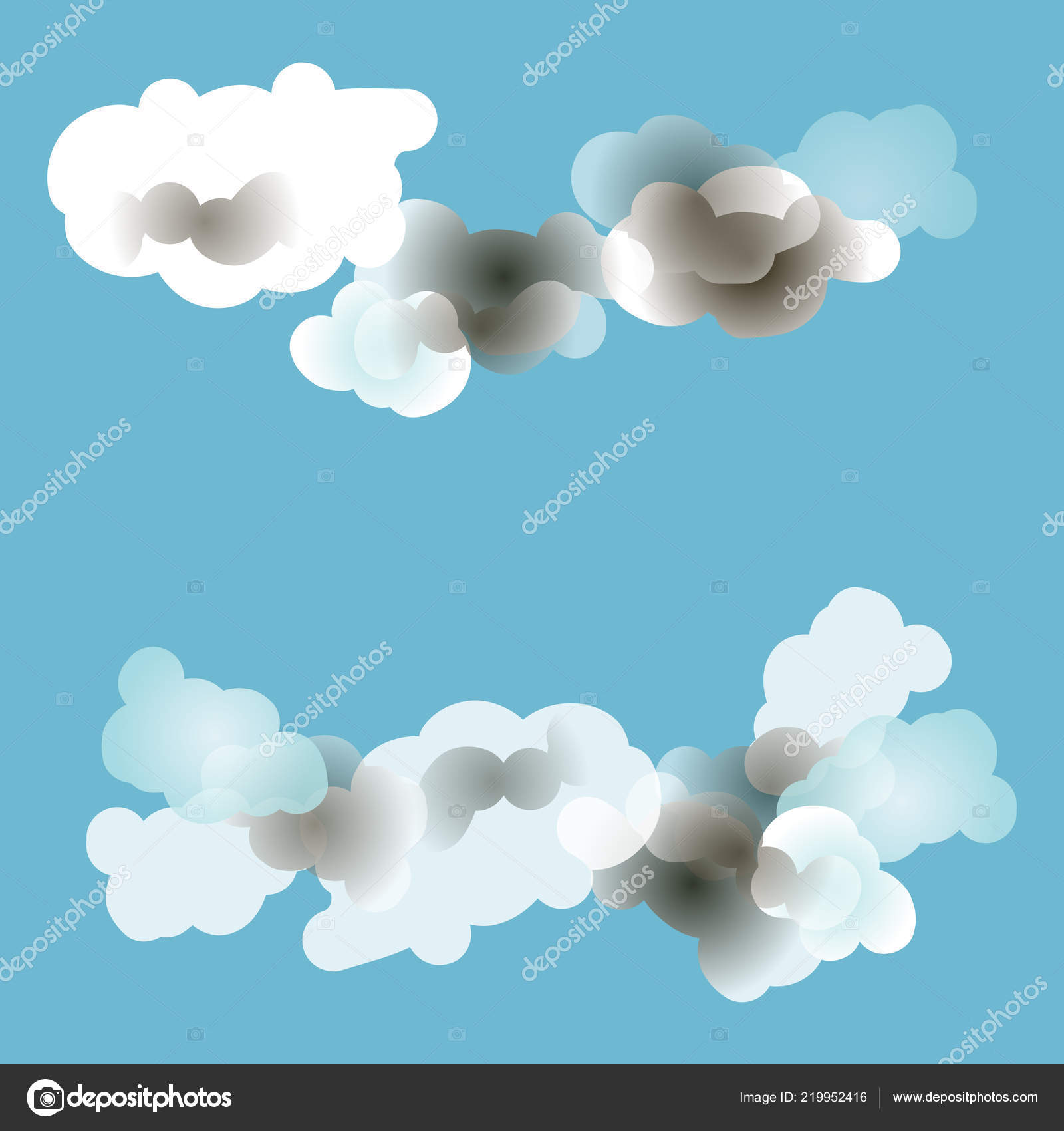 Vector Illustration Clouds Sky Blue Background Place Text Design