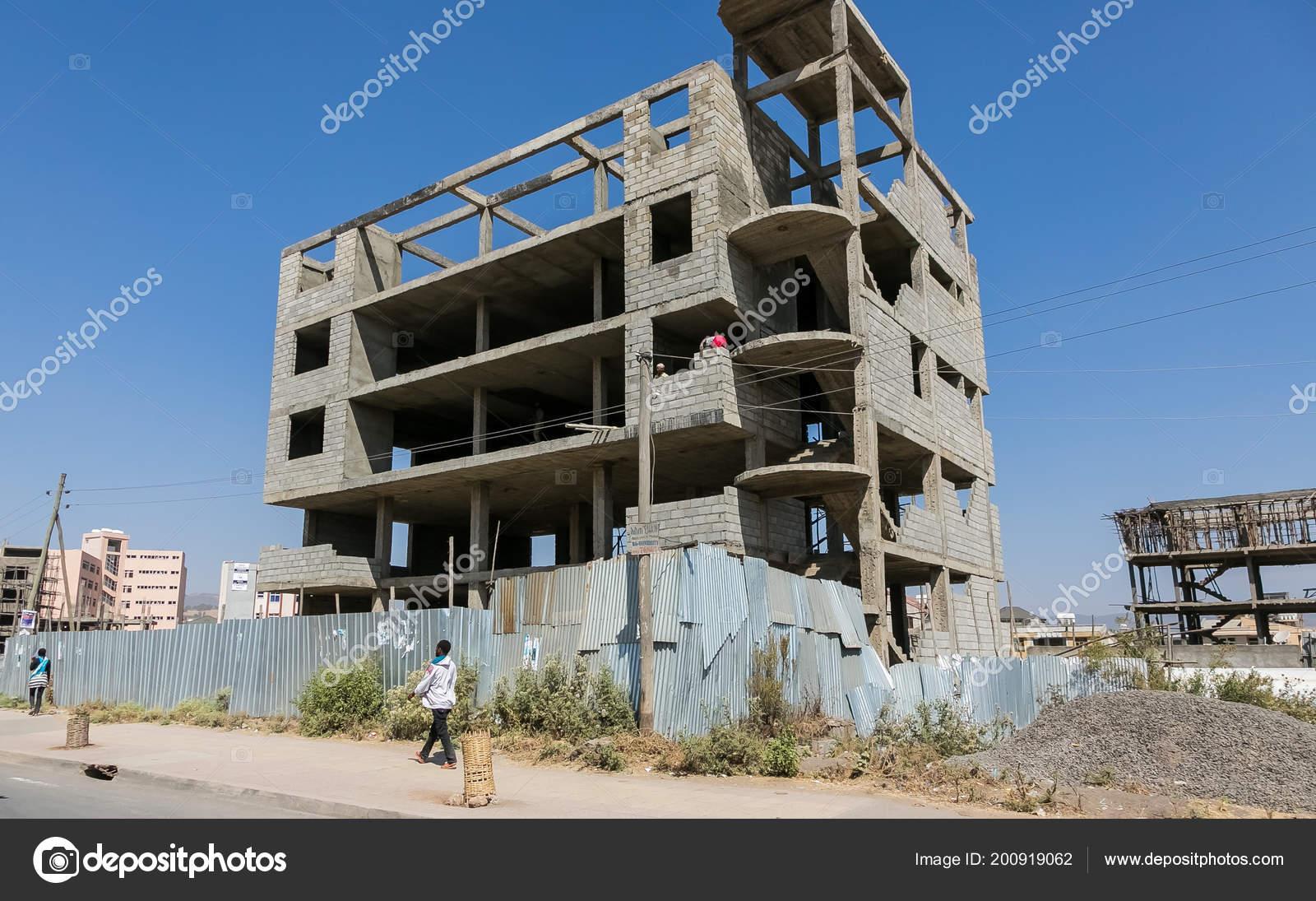 Addis Ababa Ethiopia January 2014 Urban Construction Site