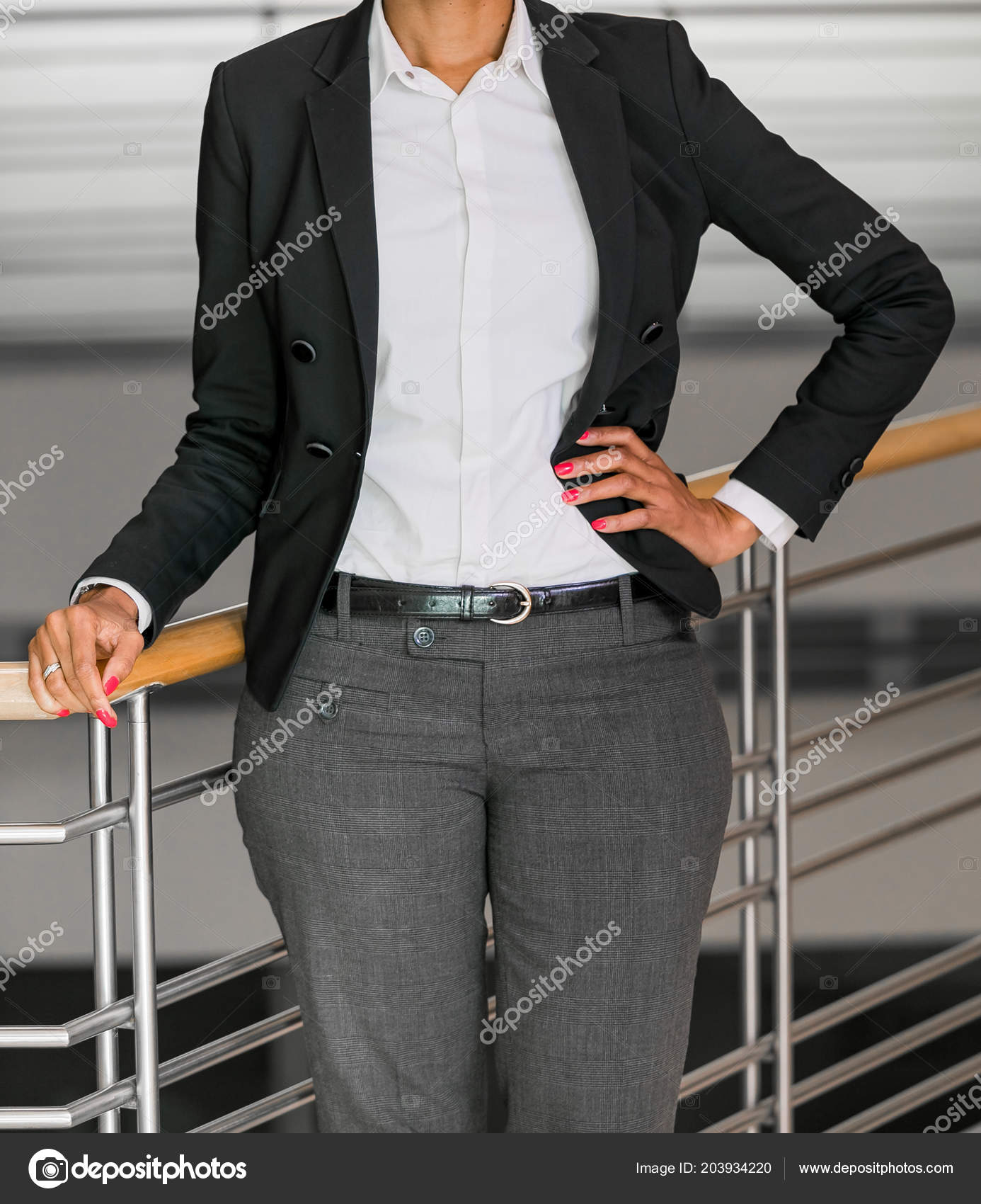 cropped head business woman corporate attire office environment