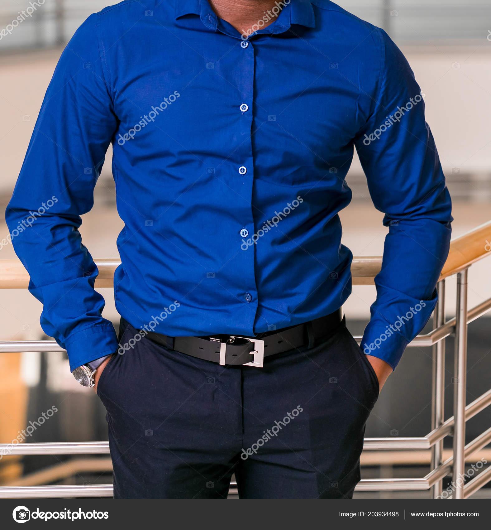 Pie Cabeza Hombre Recortada Una Camisa Vestir Elegante Con