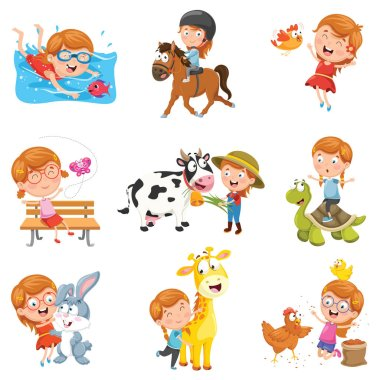 Vector Illustration Of Little Girl Playing With Animals