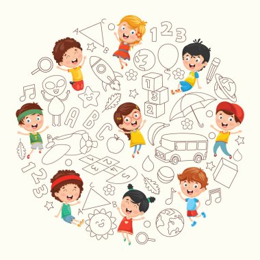 Vector Illustration Of Children Sketching