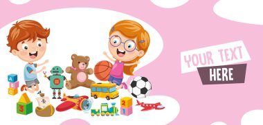 Vector Illustration Of Children Playing Of Toys