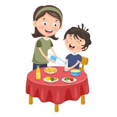 Vector Illustration Of Mother Prepare Breakfast For Kid