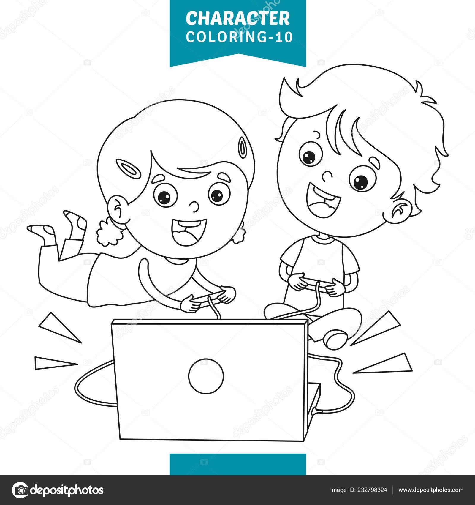 Vektör çizim Karakter Boyama Sayfası Stok Vektör