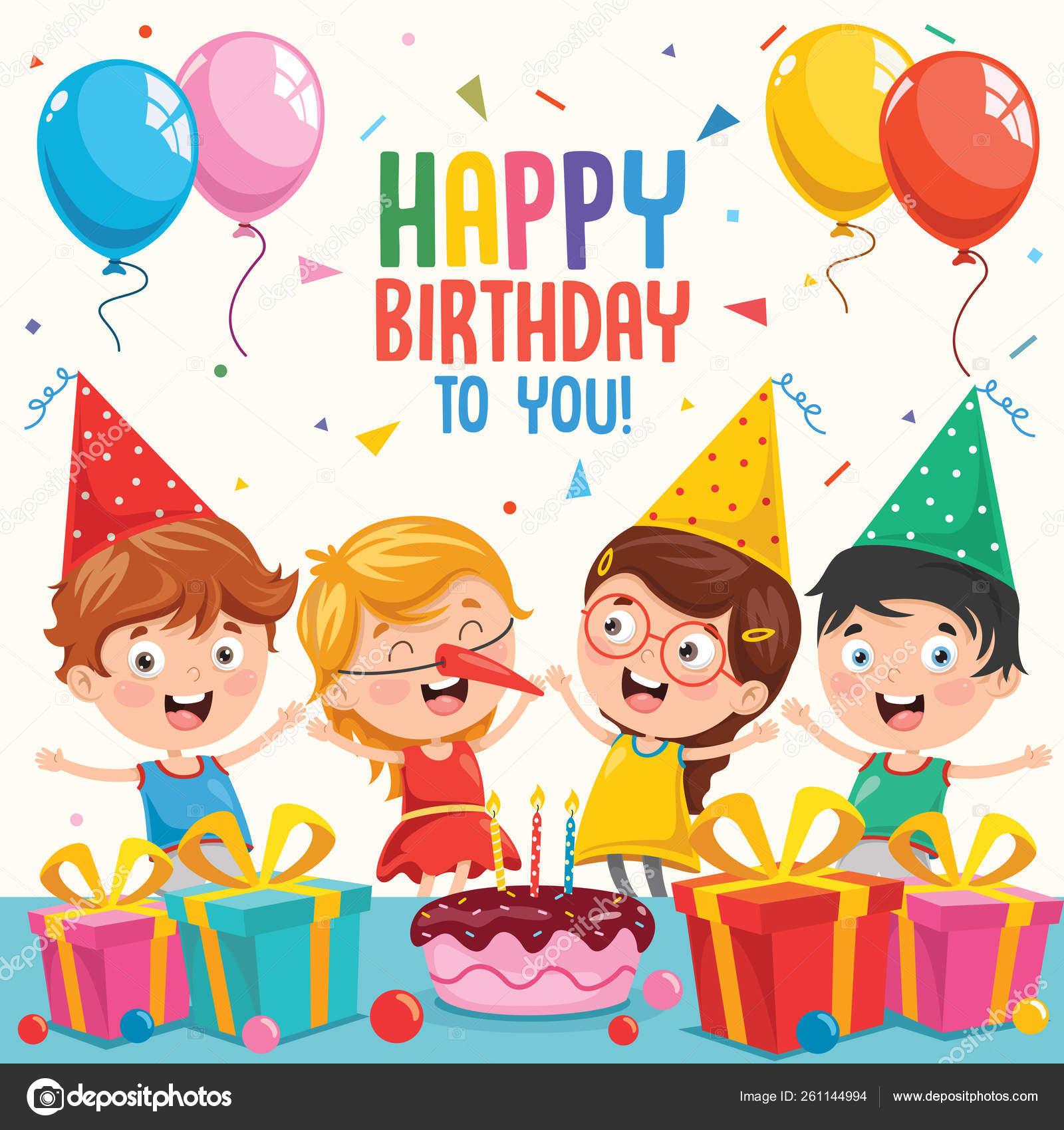 Vector Illustration Children Birthday Party Invitation Card